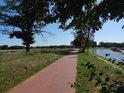 Cyklostezka po sladkovodní kose, vlevo Stara Odra, vpravo Kanał Miejski.