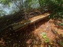Přírodní lavička pod nánosem uschlého listí na levém břehu Západní Odry v úseku Gartz – Meschrerin.